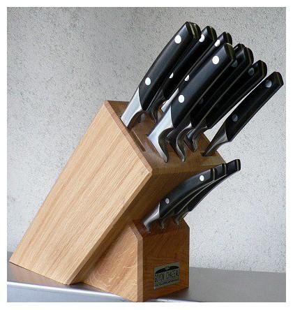 """Bloc de 12 couteaux """"cuisine thiers"""" manche genévrier présentoire en bois rouge"""