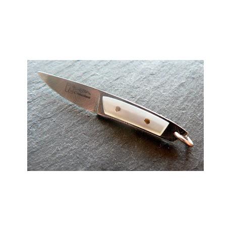 pendentif couteau en damas inox manche ivoire et ébène