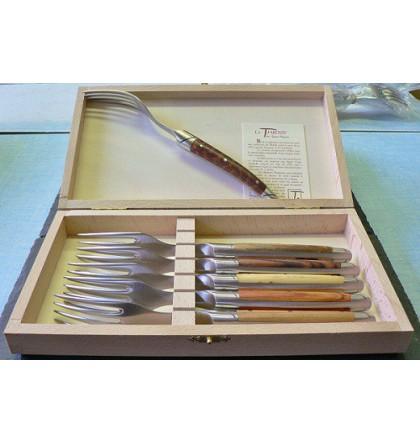 Coffret 6 fourchettes table, Thiers avantage forgé, manche assortiment de 6 bois
