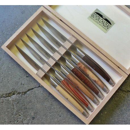 Coffret 6 couteaux de table, Thiers avantage forgé, manche assortiment de 6 bois