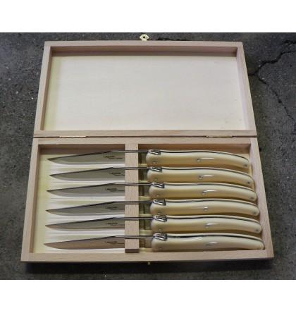 Coffret 6 couteaux Laguiole plein manche acrylique blanc