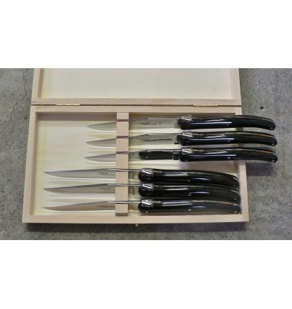 Coffret 6 couteaux Laguiole plein manche acrylique noir