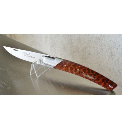 """Couteau fermant """"le Thiers pirou"""" 1 mitre 1 pièce guilloché main 12 cm bois d'amourette"""
