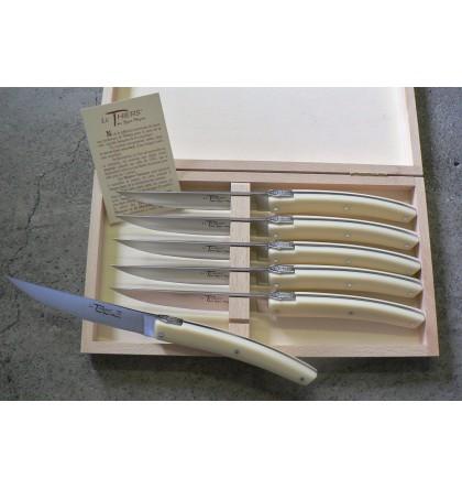 Coffret de 6 couteaux pirou plein manche acrylique blanc