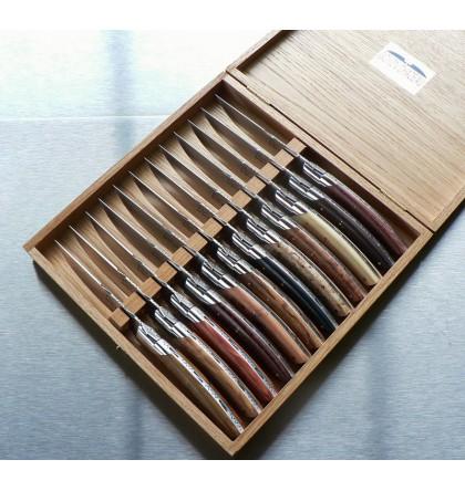 Coffret de 6 couteaux Thiers pirou assortiment de 12 bois