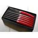 Coffret de 6 couteaux pirou plein manche acrylique rouge uni