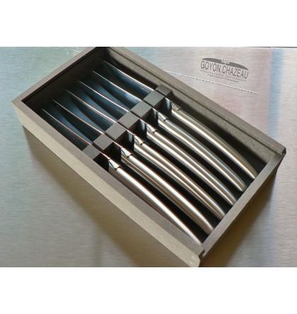 Coffret 6 couteaux table laguiole klasse G forgé tout inox brossé