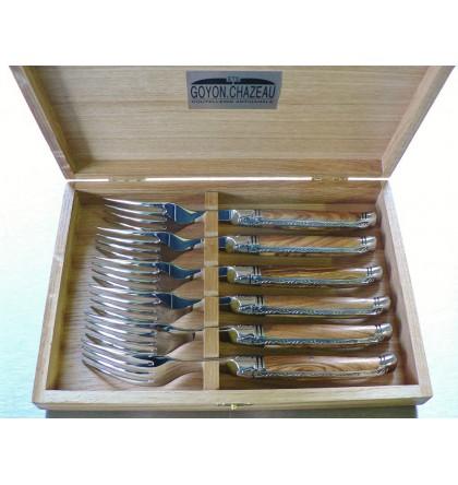 Coffret 6 fourchettes table laguiole prestige forgé guilloché bois d'olivier