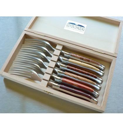 Coffret 6 fourchettes de table, Laguiole forgé, manche assortiment de 6 bois