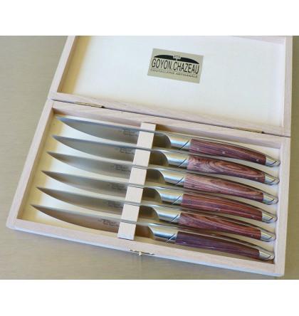 Coffret 6 couteaux le Thiers forgé, manche bois de violette