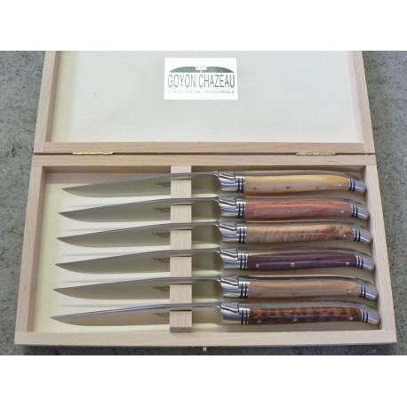 Coffret 6 couteaux de table, Laguiole avantage forgé, manche assortiment de 6 bois