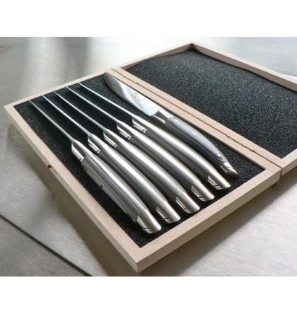 Coffret 6 couteaux le Thiers forgé, manche paperstone gris galet
