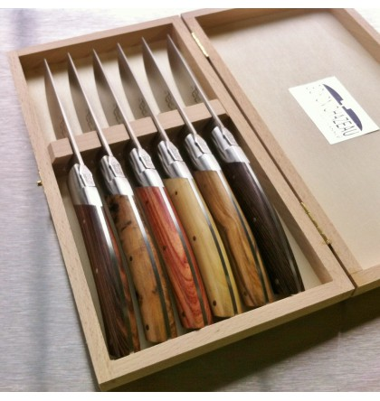 Coffret 6 couteaux le Thiers pirou avantage 6 bois assortis