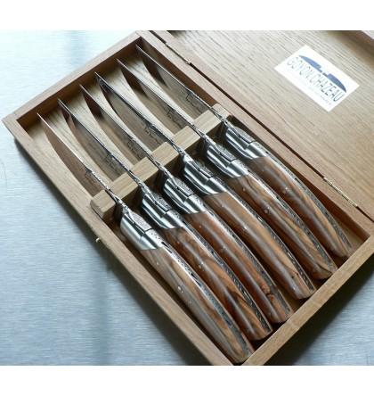 Coffret de 6 couteaux pirou bois d'olivier