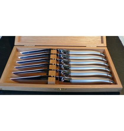 Coffret 6 couteaux table laguiole tout inox sablé