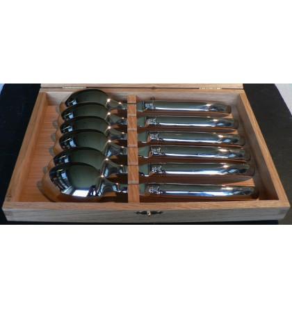 Coffret 6 cuillères de table laguiole tout inox brillant