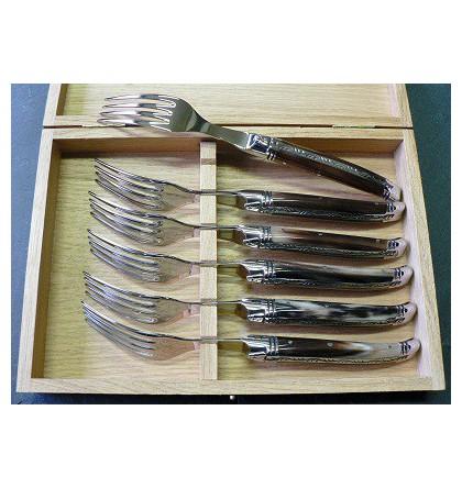 Coffret 6 fourchettes table laguiole prestige forgé guilloché pointe de corne
