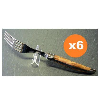 Coffret 6 fourchettes table laguiole klasse G forgé loupe de cade