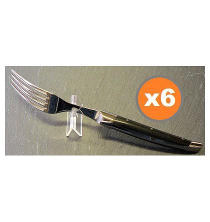 Coffret 6 fourchettes table laguiole klasse G forgé bois d'ébène