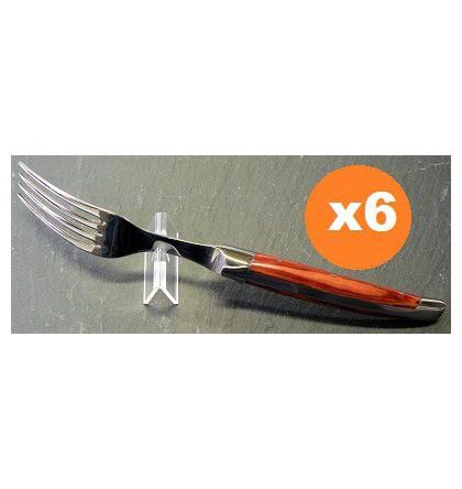 Coffret 6 fourchettes table laguiole klasse G forgé bois de rose