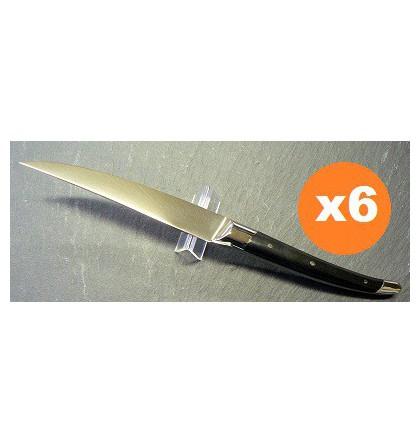 Coffret 6 couteaux table laguiole klasse G forgé bois d'ébène