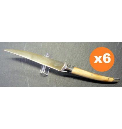 Coffret 6 couteaux table laguiole klasse G forgé bois d'olivier