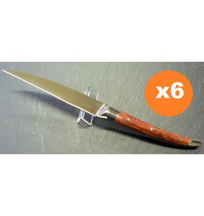 Coffret 6 couteaux table laguiole klasse G forgé bois de rose