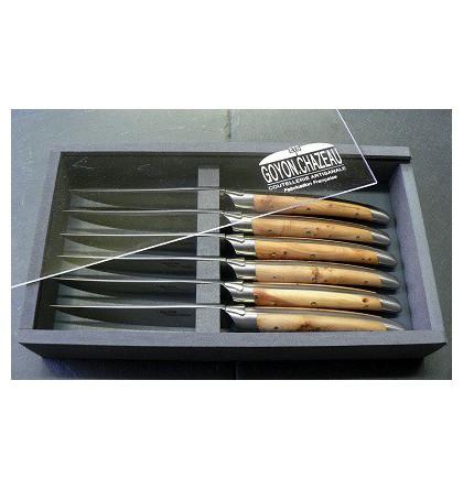Coffret 6 couteaux table laguiole klasse G forgé loupe de cade